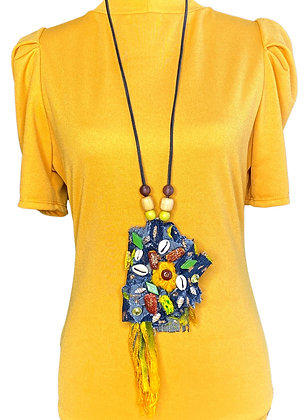 Actin centric shell denim statement beaded abstract necklace