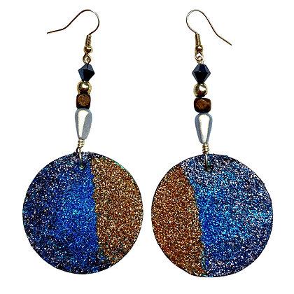 Jeweled Glitter Blue Gold Dangle Art Earrings