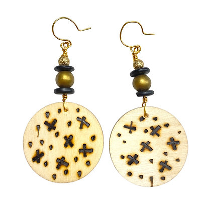 Kriss Cross Smoked Gold and Black Wood Earrings