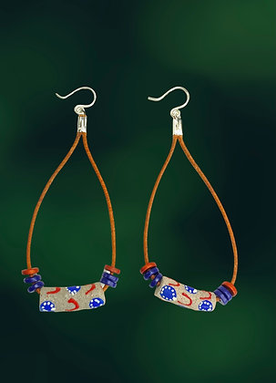 African Leather Cord  Blue Tease Earrings