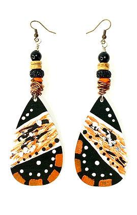 Light Flight Orange Tribal Earrings