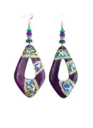 Purple Hand Painted Boho Earrings