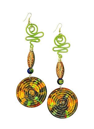 Green Waves And Charm Boho Earrings