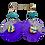 Thumbnail: Art Covered Purple Wood Dangle Jeweled Earrings