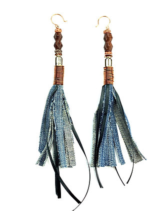 Wired Denim Fringe Earrings