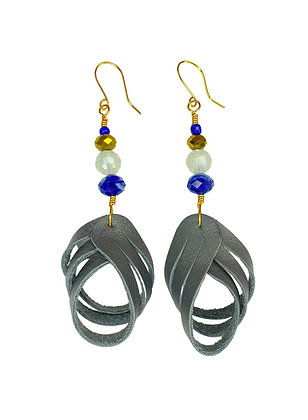 Happy Grey Strapped Leather Earrings