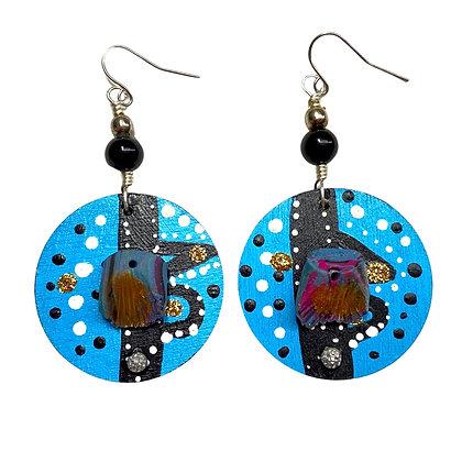 Shifty Blue Boho Charmed Dangle Wood Earrings