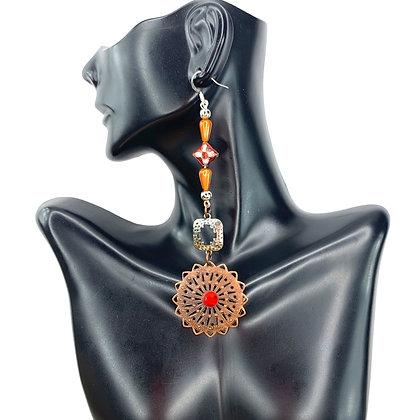 Bronze  Bella Crazed Jeweled Earrings