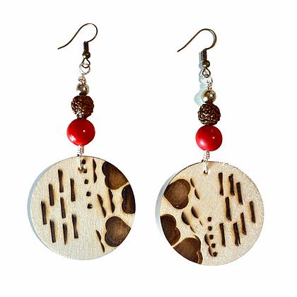 Charming  Heart  Dangle Wood Earrings