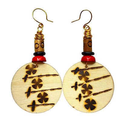 Wooden Clover Art Wood Dangle Earrings