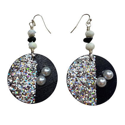 Dressy Glitter Slip on Pearl Lady Dangle Earrings