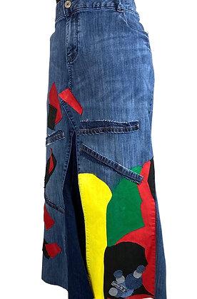 Boho Rice N Peas Funky Denim Skirt