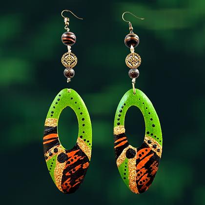Sexy  Slip On Green Copper Dip Dangle Wood Earrings
