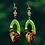 Thumbnail: Sexy  Slip On Green Copper Dip Dangle Wood Earrings