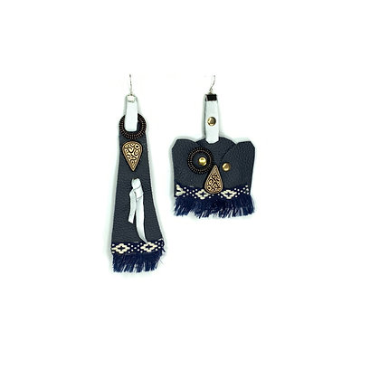 Blue unique up down boho statement leather earrings