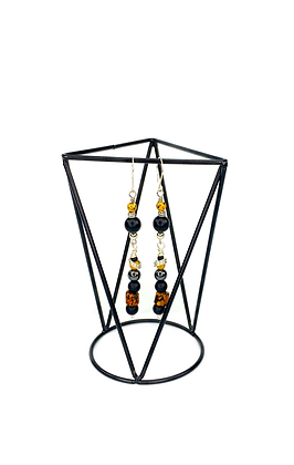 Jazzy day yellow black silver pretty lady fashion drop earrings