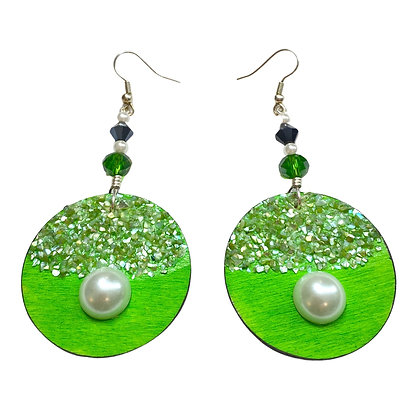 Crushed Glass Speckled Pearl Wood Dangle Earrings