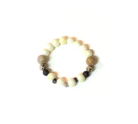 Bold beige light olive wrist read slip on style bracelet