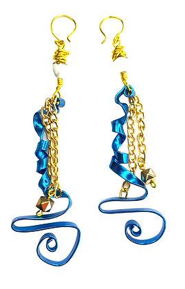Blue Wired World Earrings