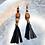 Thumbnail: Wood Dangle Leather Copper Earrings