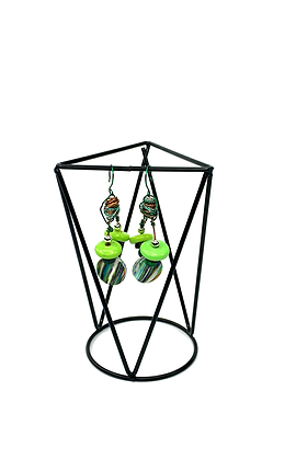 Grass rooted wire wrapped green boho style earrings