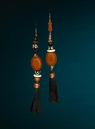 Wood Dangle Leather Copper Earrings