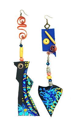 Abstract #9 Boho Leather and Wire Earrings