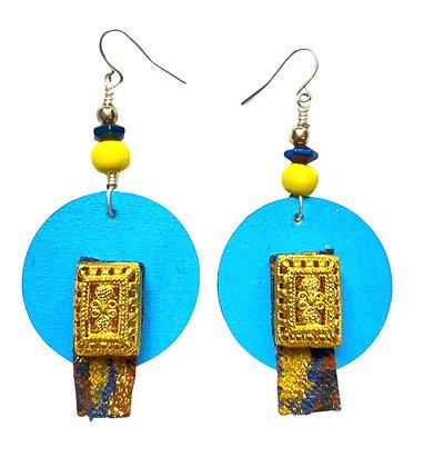 Golden Denim Caged Dangle Wood Earrings