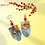 Thumbnail: Butterfly Denim Art Dangle Earrings