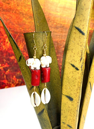 Coral Cowrie Elephant Dangle Earrings
