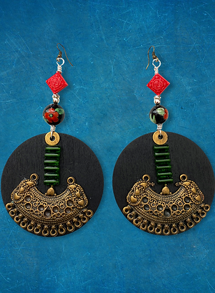 Charmed  Brass  and Wood Beaded  Style Earrings