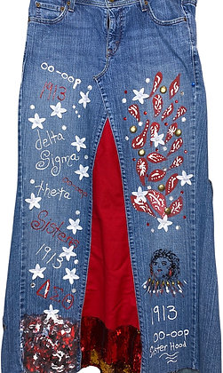 Delta Sigma Theta Fall Down Denim Boho Skirt