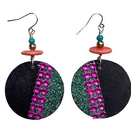 Jeweled Black and Hot Purplish Pink Dangle Earrings
