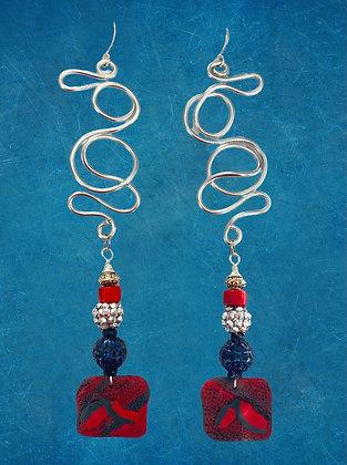 New Block Wire Charm Earrings