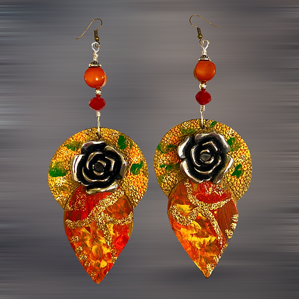 Abstract  Rare Leather Rose Fashion Style Earrings