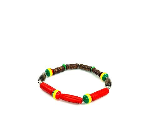 Island love beauty wooden beaded boho style slip on bracelet