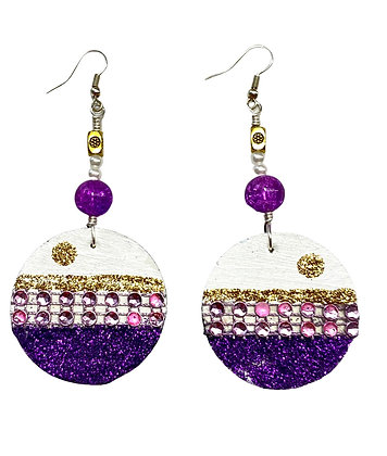 Purple beaded and Gold Wooden Dangle Earrings
