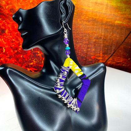 Purple Peace Silver Beaded Earrings