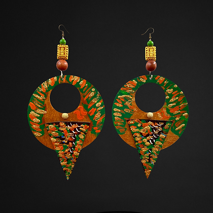 Diva Trail Leather and Wood Painted  Fashion Earrings