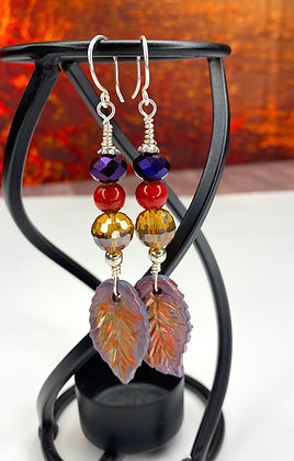 Seasons Fall Leaf Beaded Earrings