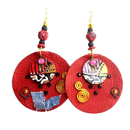 Strawberry Boho Hand Painted Funky Leather Earrings