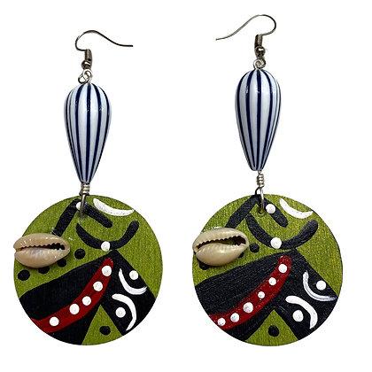 Jazzy Green Tear Drop Cowrie Shell Earrings