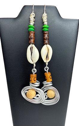 Dangle Wired Cowrie Shell Earrings