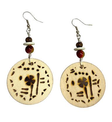Handmade Smoke Brown Dangle Wood Earrings