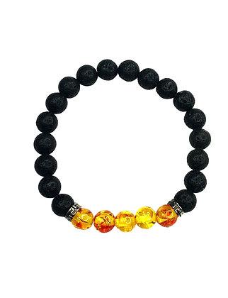 Summer Gleam Sun Black Lava Bead Bracelet