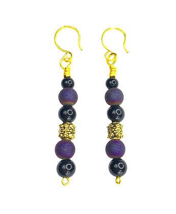 Purple Golden Queen Earrings
