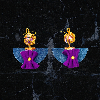 Purple Metallic and Golden Wire Denim Earrings