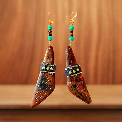 Perfect Dangle Wood and Denim  Earrings