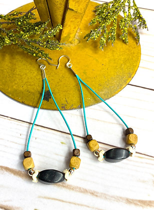 Tranquil Leather Black Cord Earrings