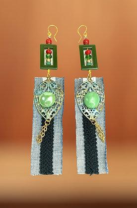 Green Waterfall Earrings